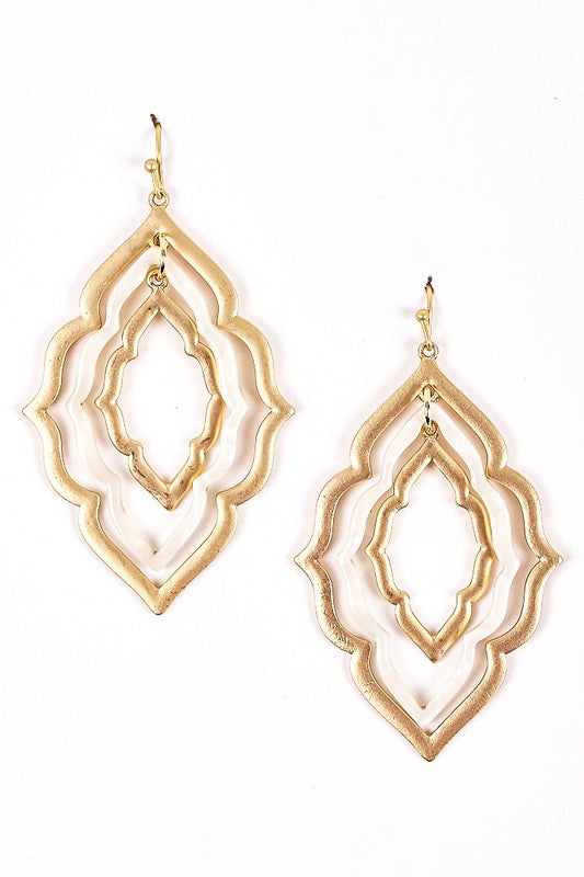 Layered Dangling Lucite Gold Framed Earrings