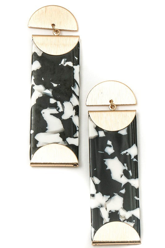 Acetate Patterned Drop Bar Dangle Earrings