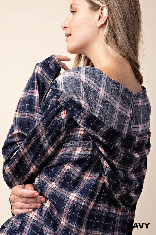 Navy Plaid Hoodie Top