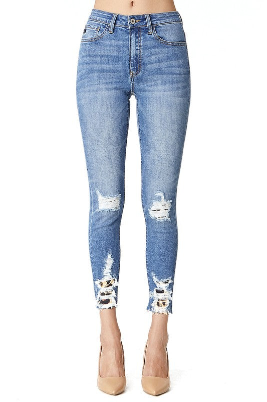 Leopard Distressed Skinny Jeans- Kan Cans