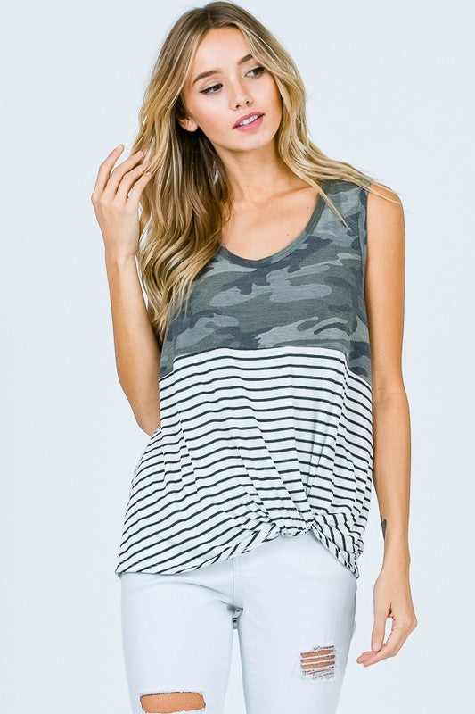 Stripe Camo Tunic Top