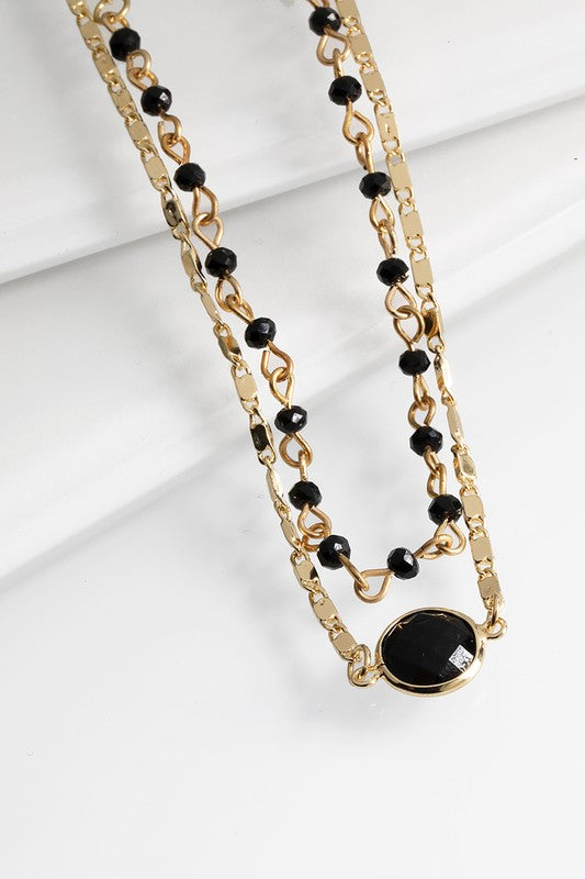 Black Bead & Charm Accent Necklace