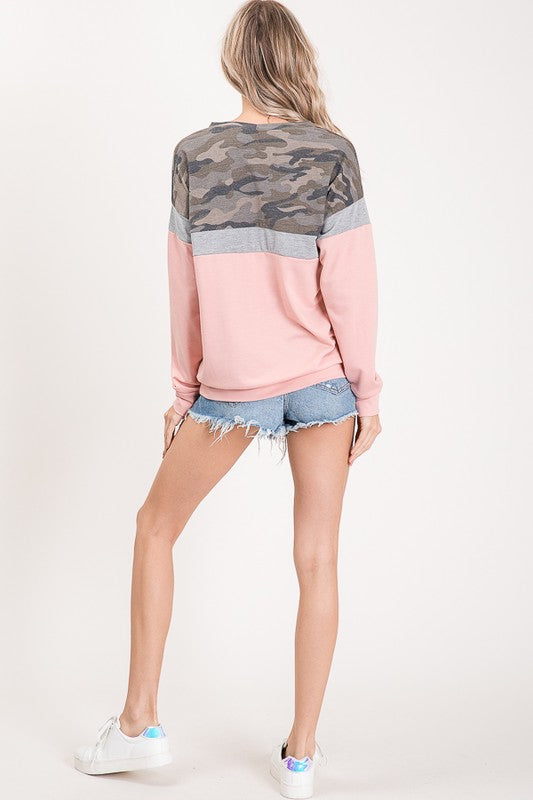 Color Block Camo Pullover