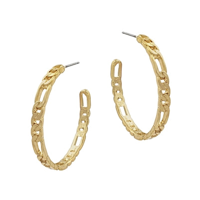 Matte Gold Chain Hoop Earring
