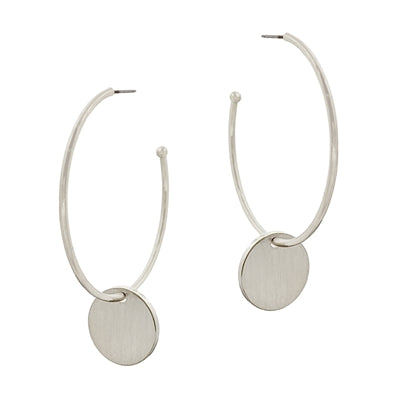 Matte Hoop With Coin Drop Earring