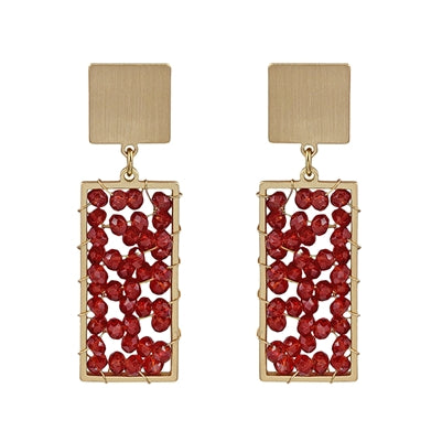Red Crystal Rectangle Earrings