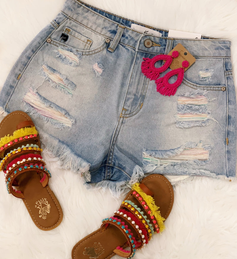 Multi Color Yarn Denim Shorts-KanCan