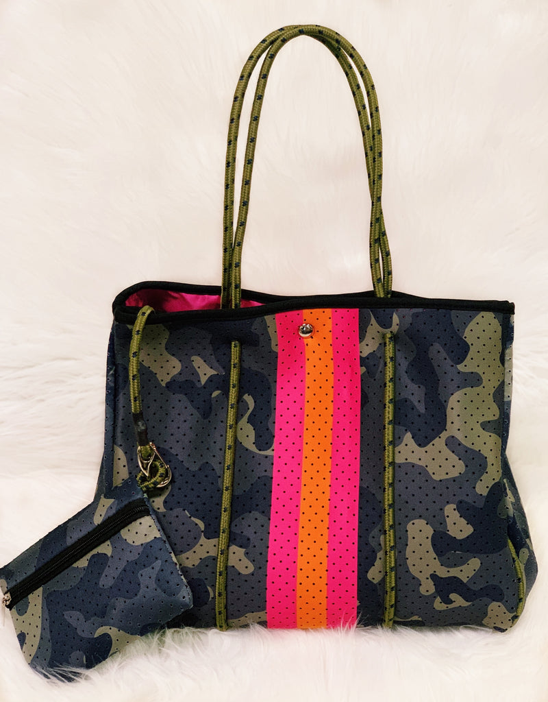 Camo Perforated Tote Purse