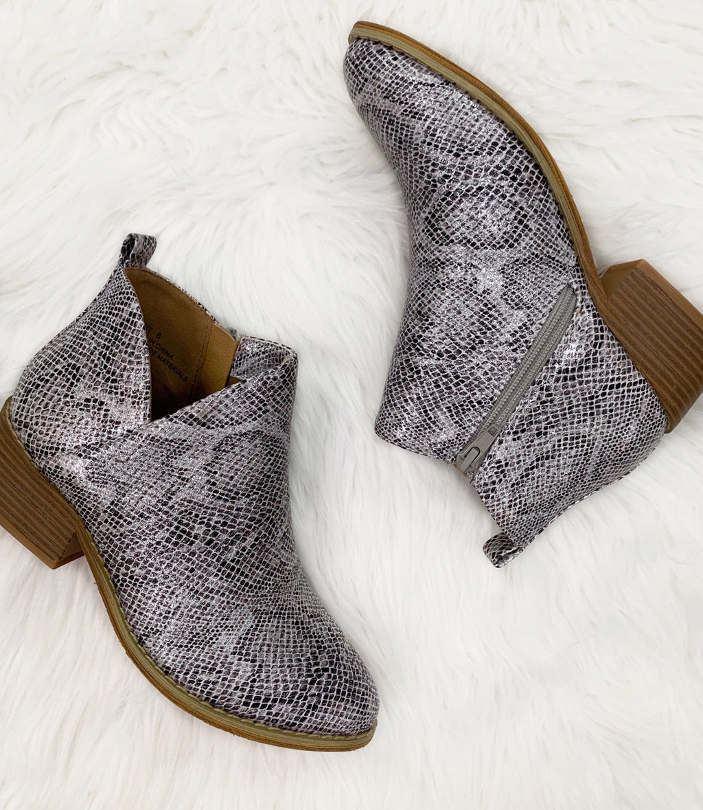 Port White Snake Booties-Corky's