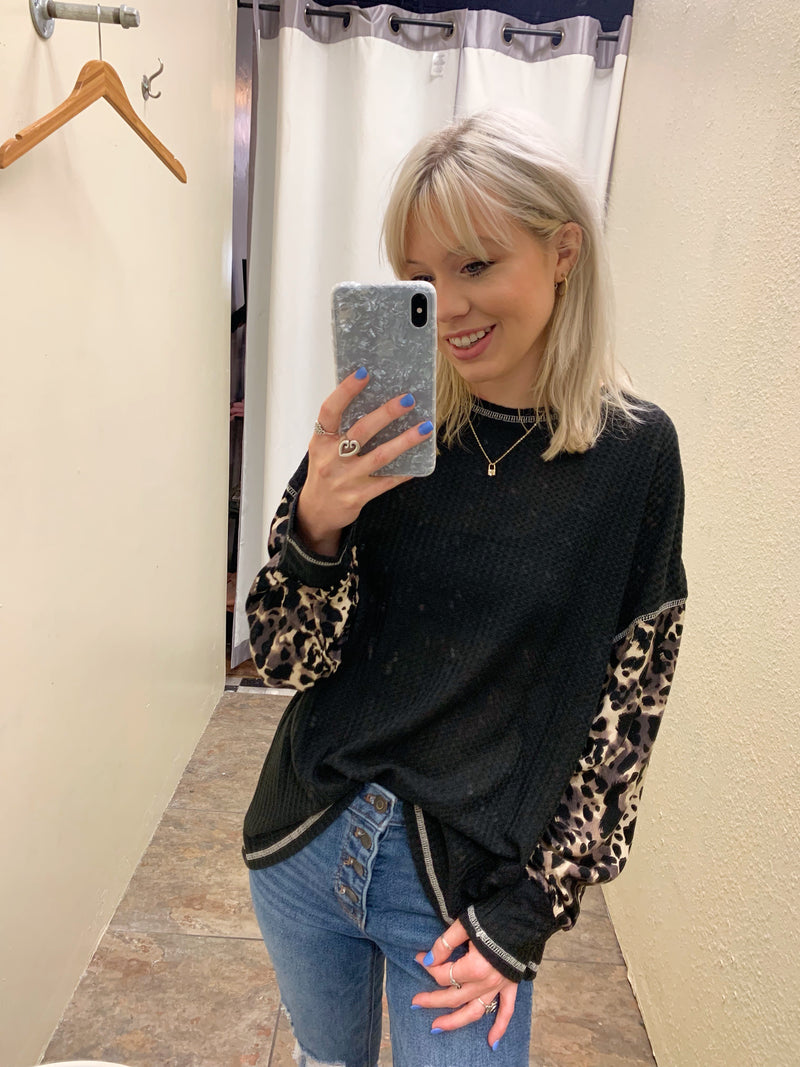Leopard Sleeve Thermal Top