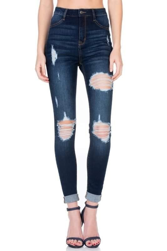 Molly Distressed Skinny Jeans-Cello