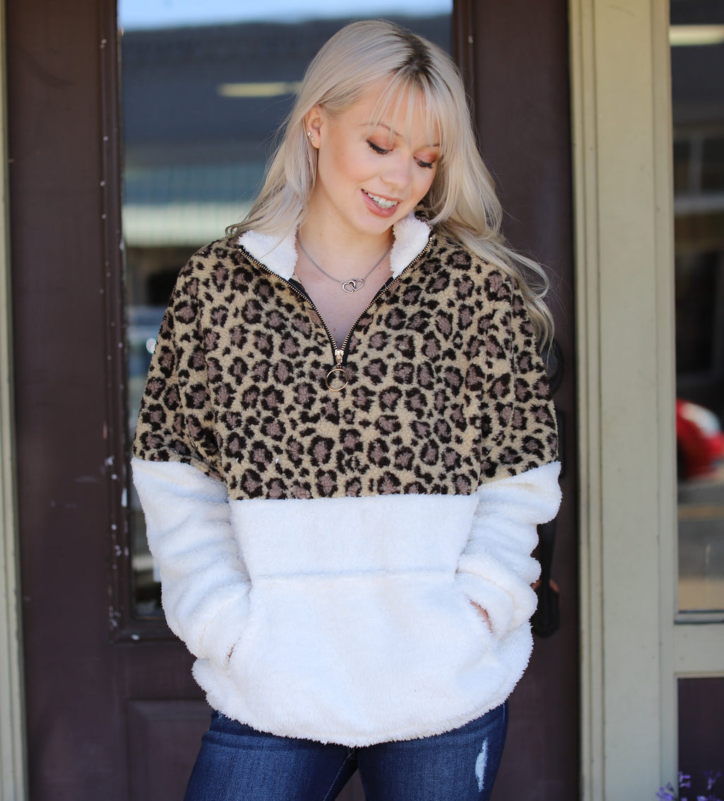 Leopard & Ivory Sherpa Pullover
