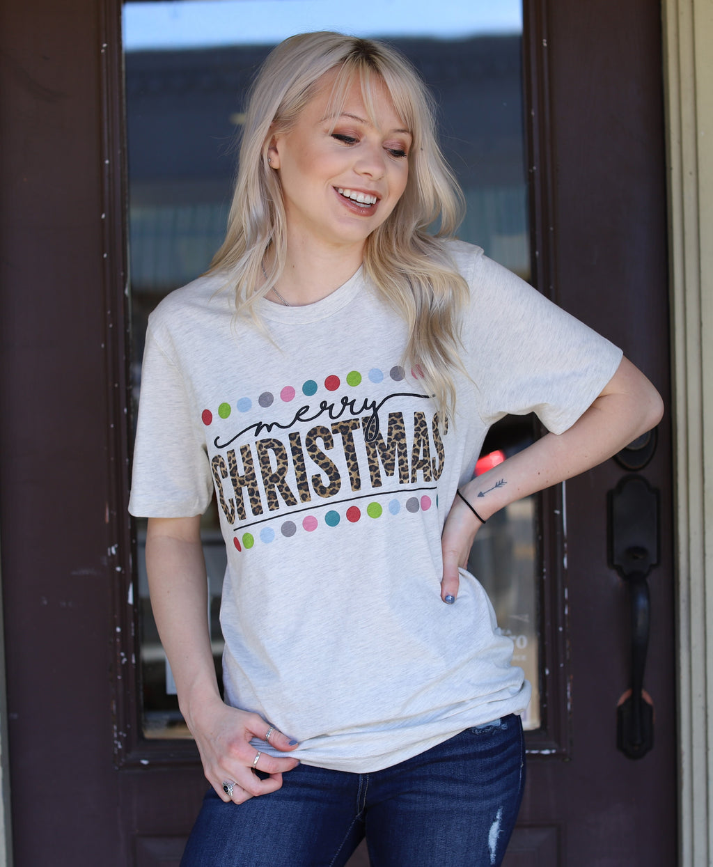 Christmas Tee-Leopard & Dots
