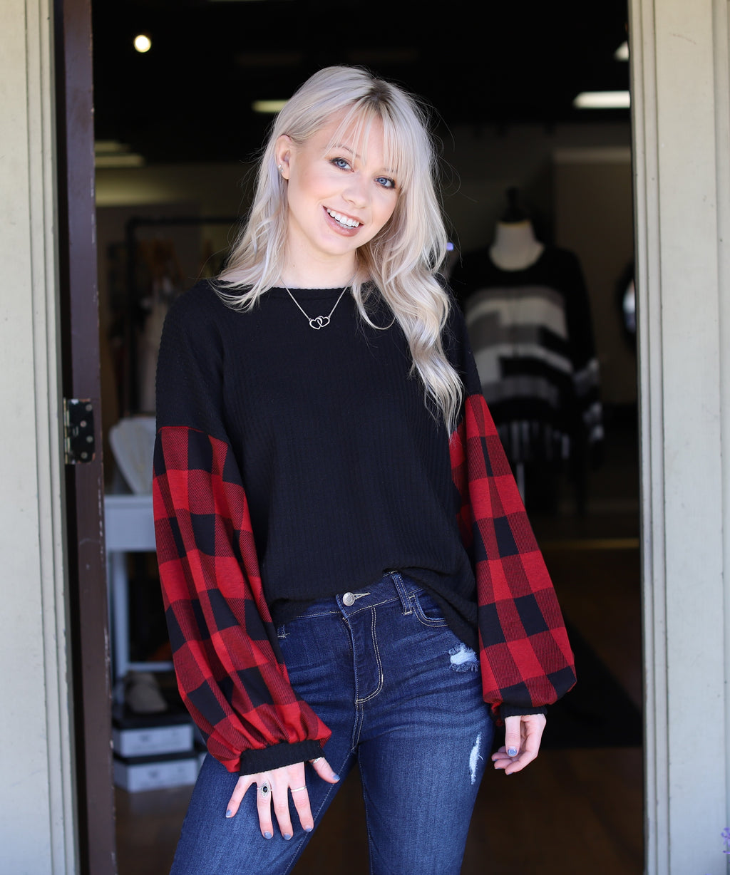 Buffalo Plaid Sleeve Top