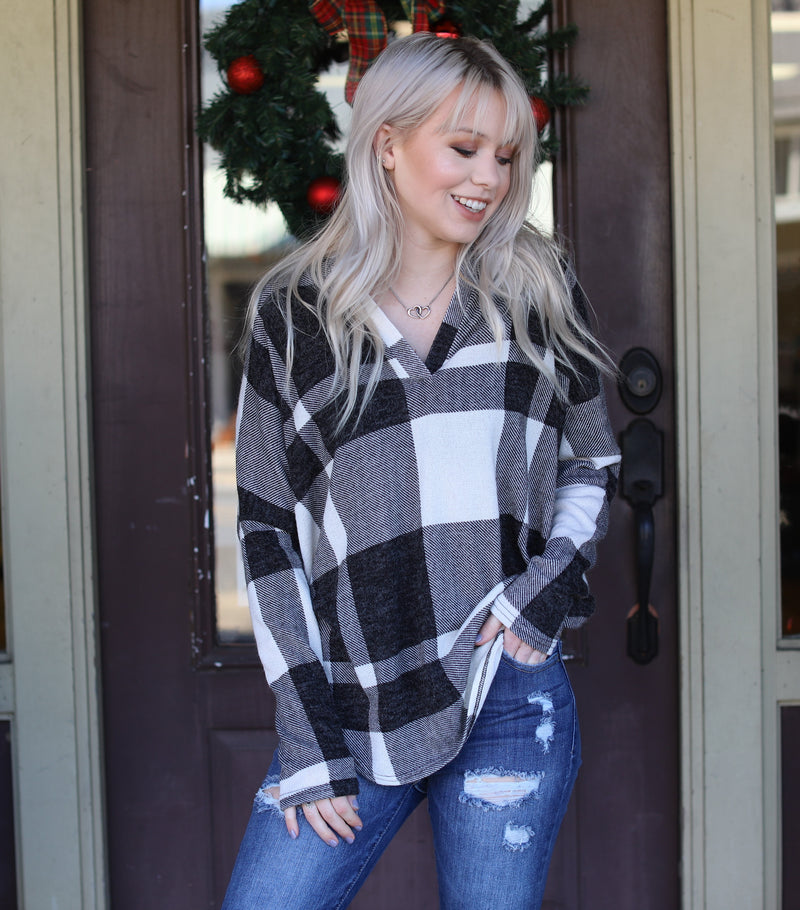 Black Plaid Print Top