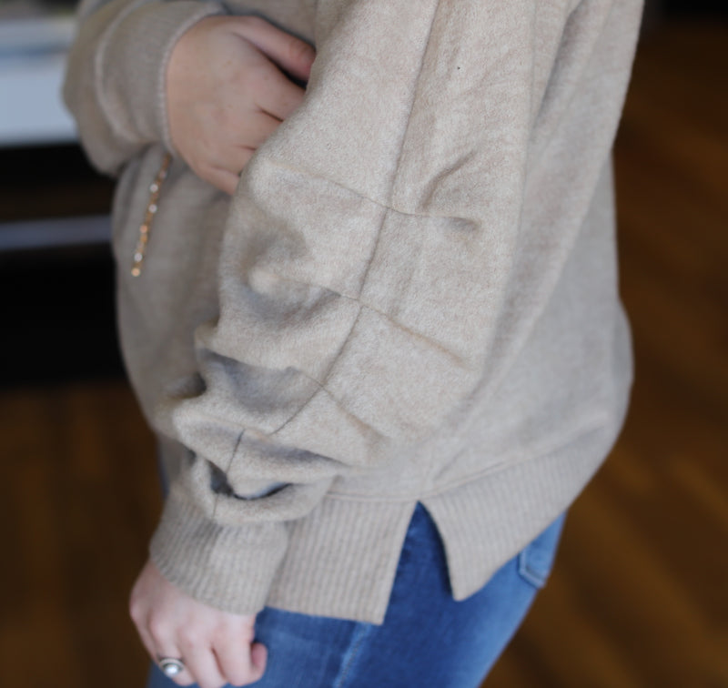 Pleated Sleeve Pullover