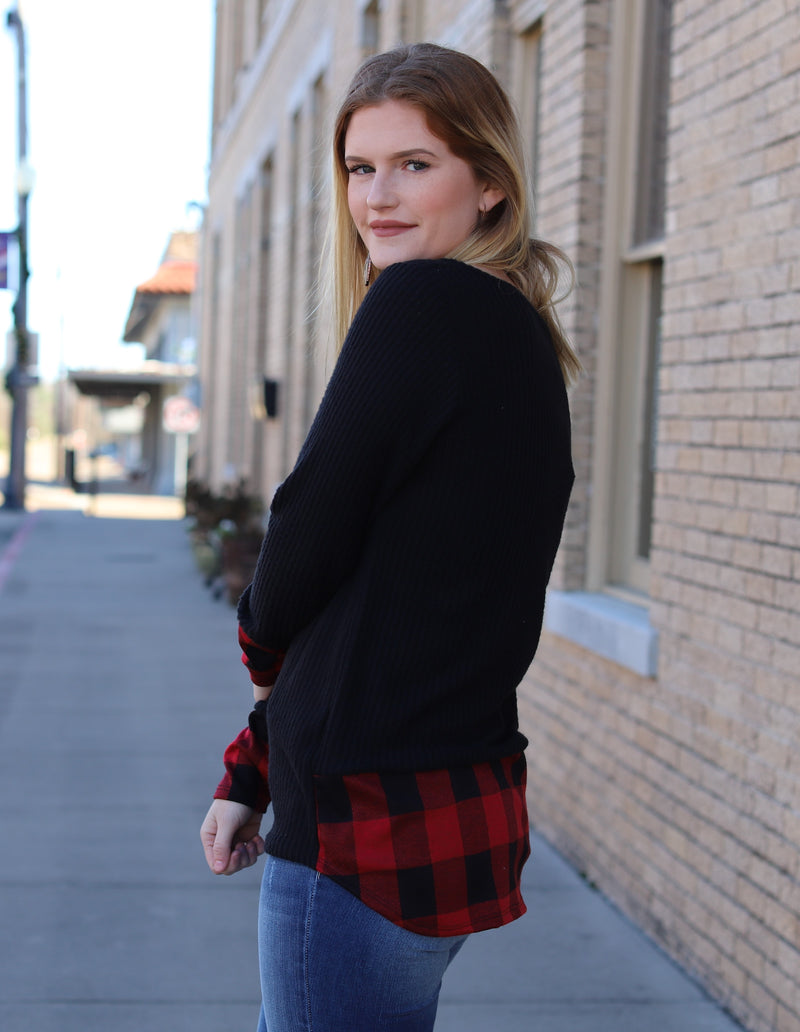 Plaid Detail Thermal Top