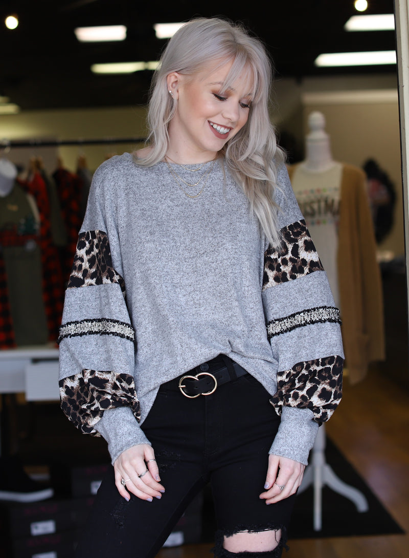 Leopard & Tweed Sleeve Top