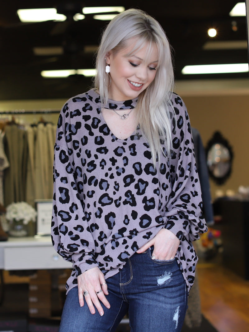Grey Mix Leopard Top