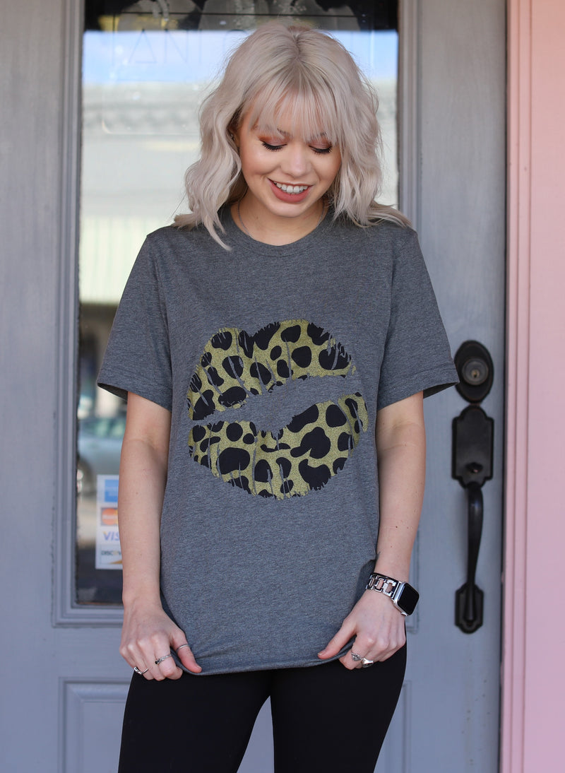 Charcoal Grey Leopard Lip Tee