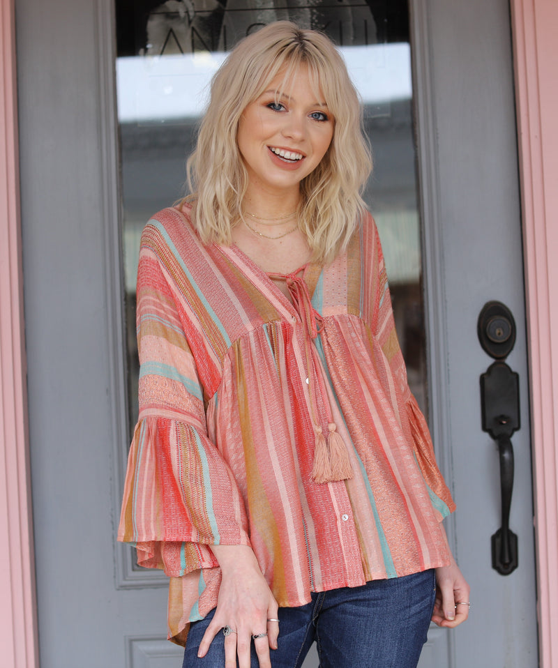 Boho Multi Stripe Top