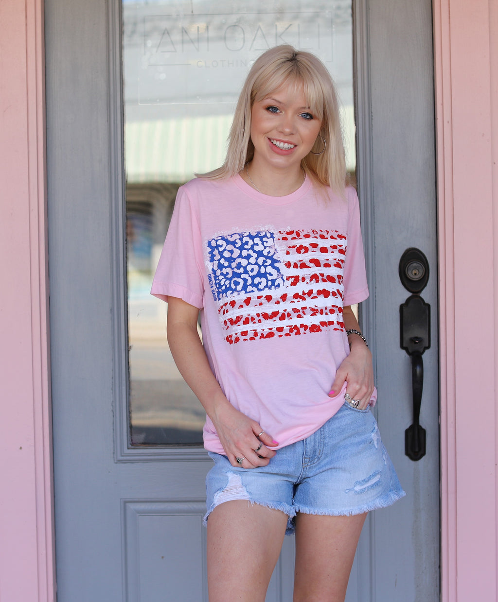 Pink Cheetah Flag Tee