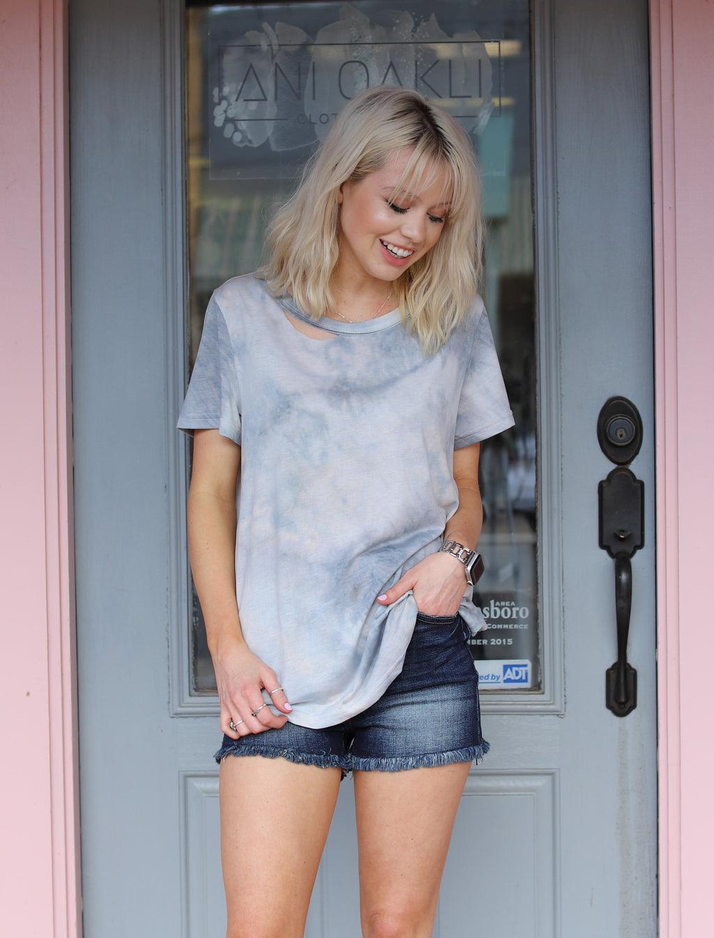 Dove Blue Tie Dye Top