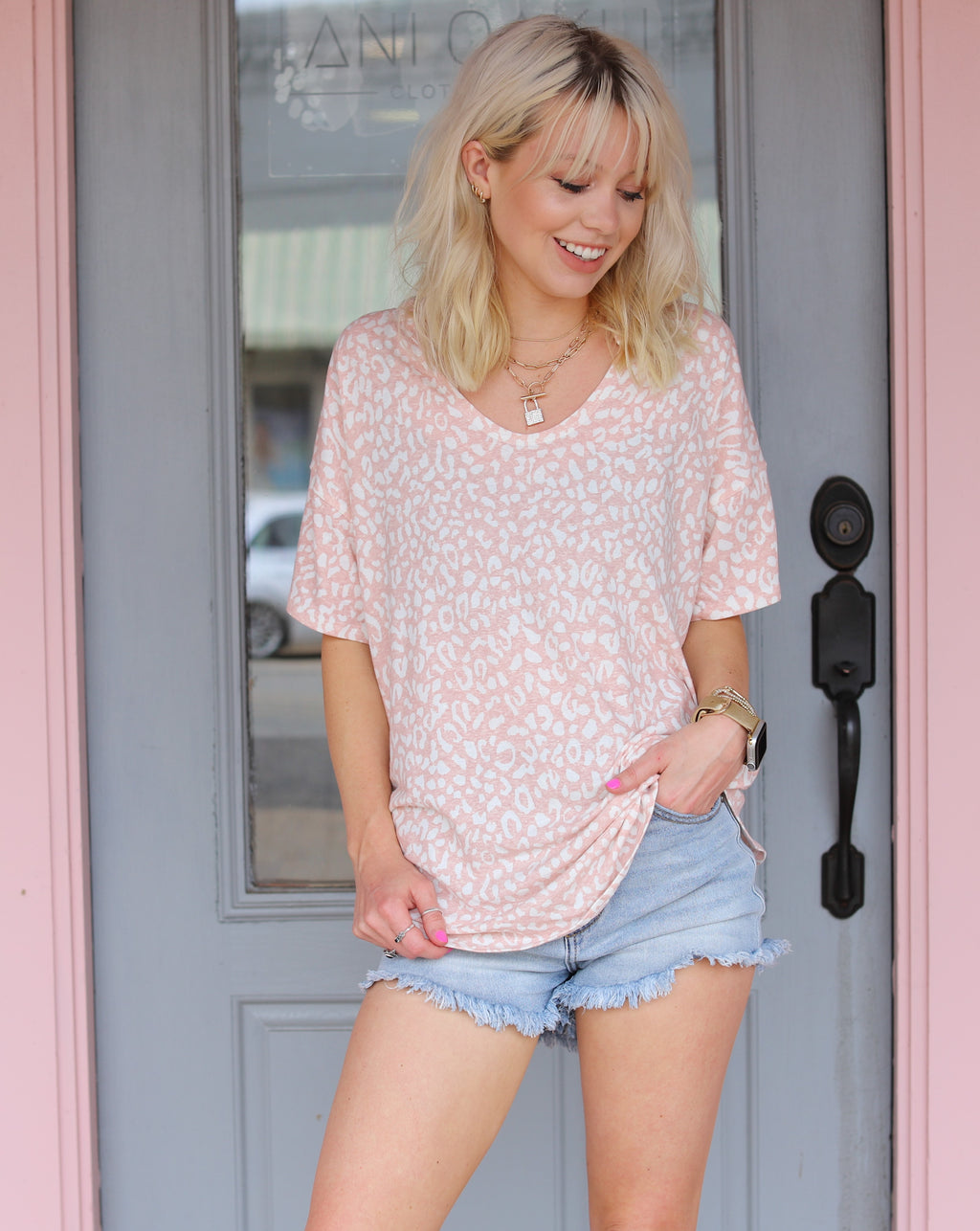 Blush Leopard Top