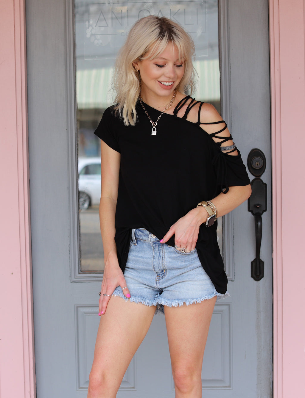 Lace Up Open Shoulder Top