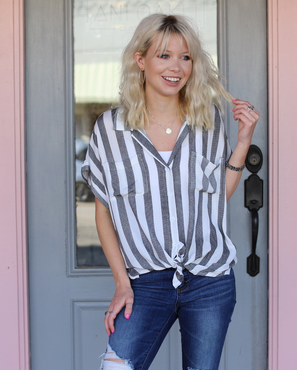 Black Stripe Button Down Top