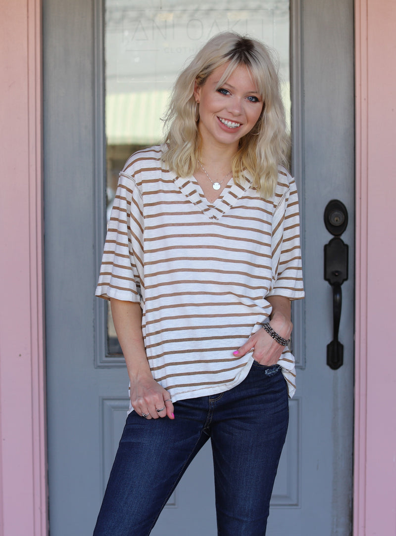 Stripe V-Neck Top