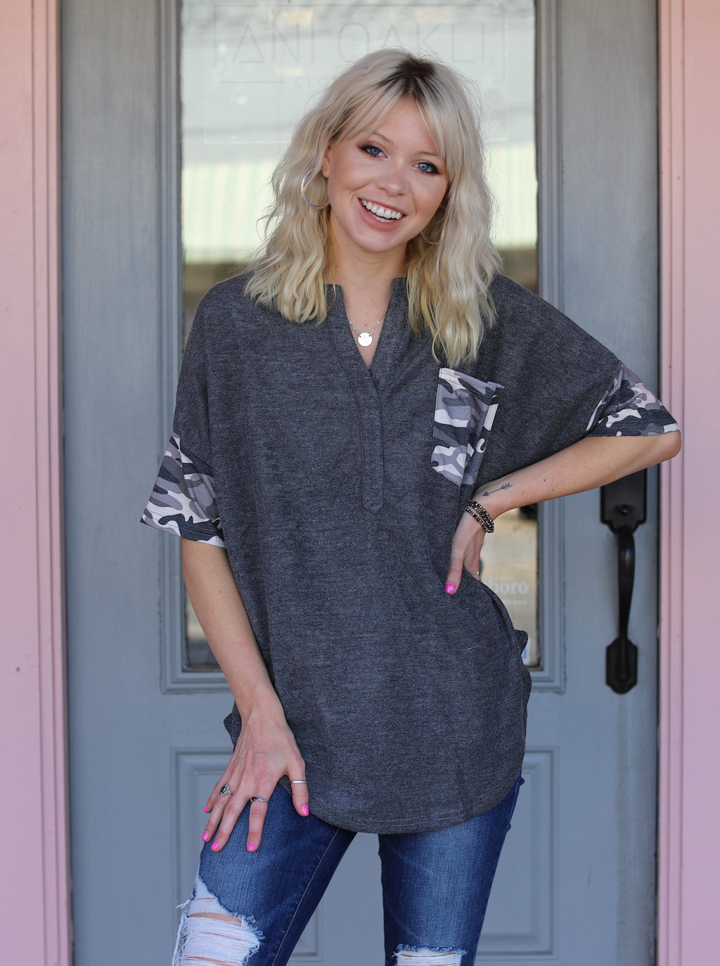 Camo Contrast Pocket Top