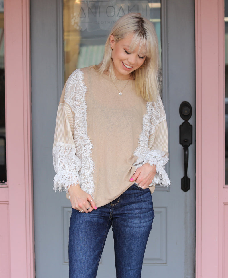 Beige Lace Top