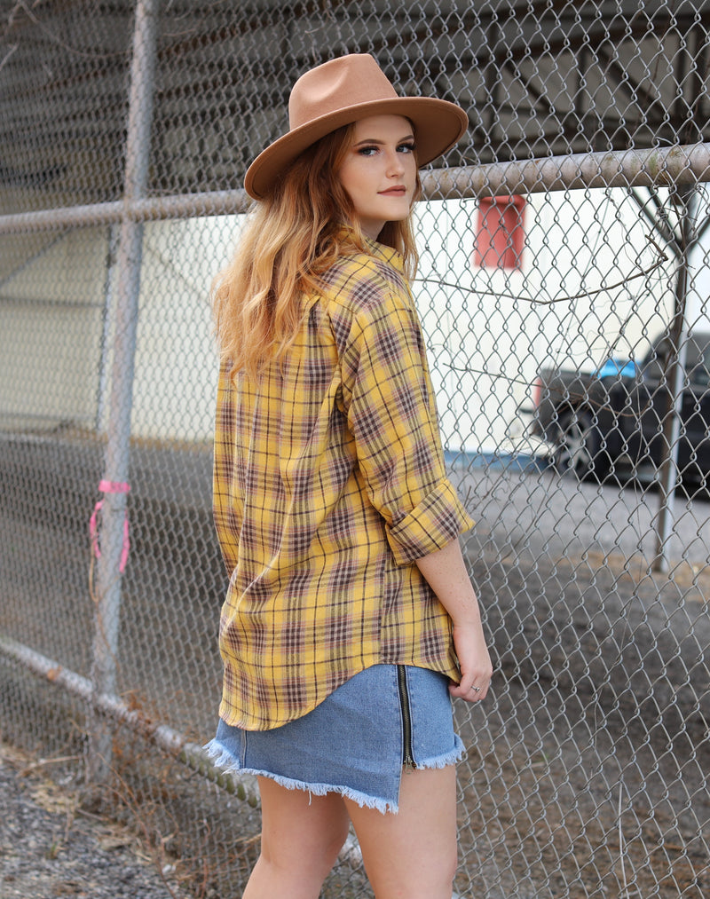 Oversized Mustard Plaid Button Up Top