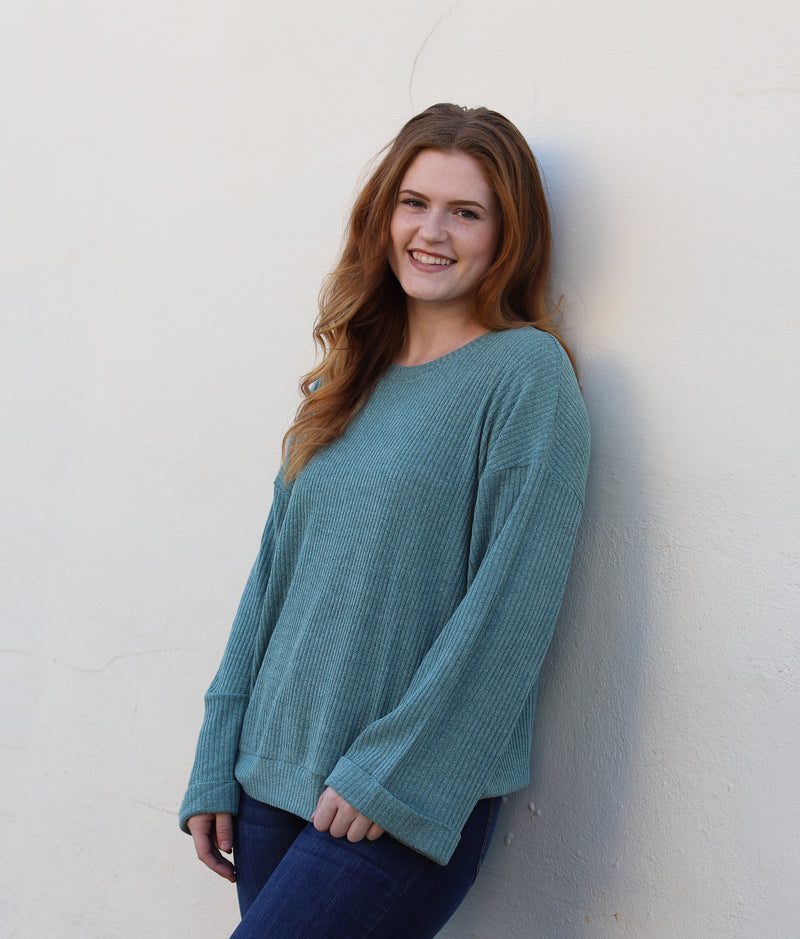 Teal Ribbed Sweater Top