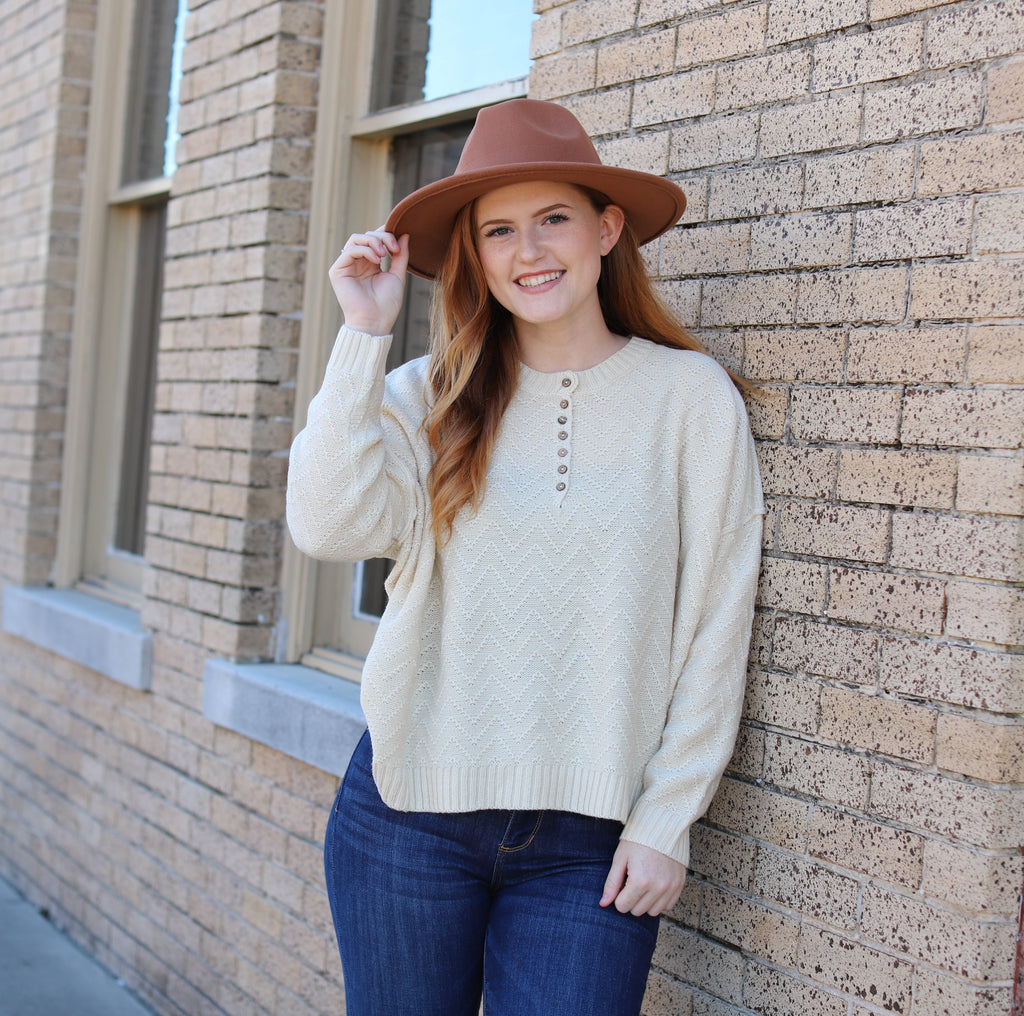 Cream Button Sweater