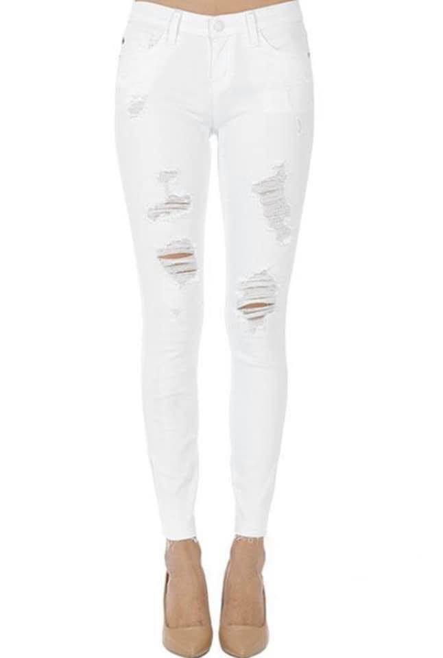 White Distressed Jeans-Judy Blue