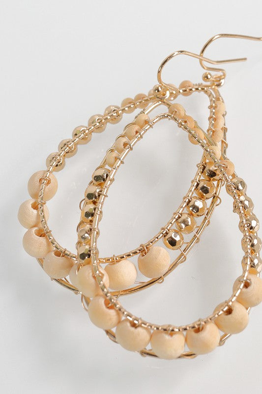Ivory Bead Tear Drop Earrings