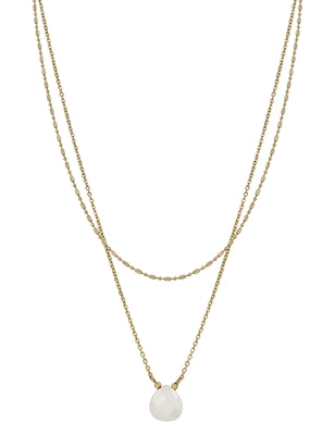 Gold Layered White Stone Necklace