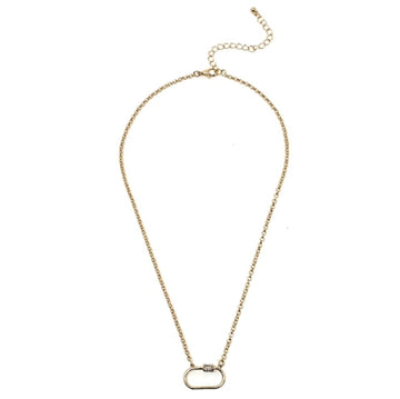 Gold Chain with Rhinestone Carabiner Necklace