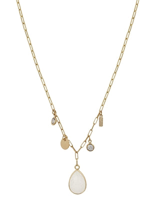 Gold Crystal Charm and Stone Necklace