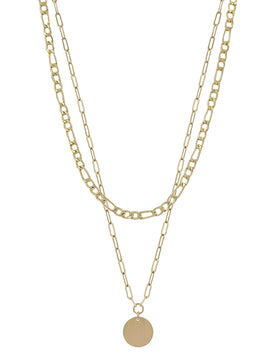 Matte Link Chain Layered with Circle Necklace