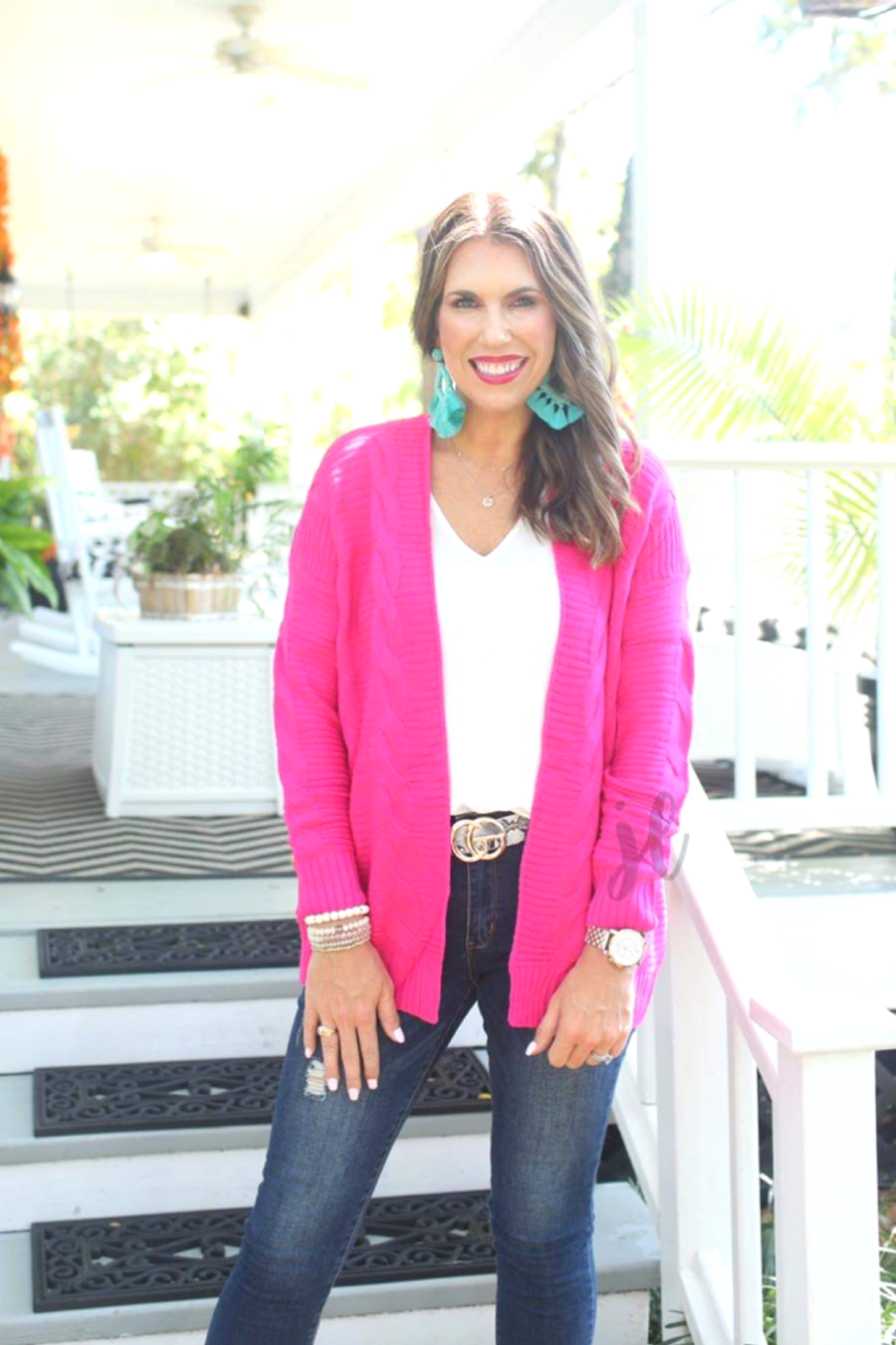 Hot Pink Cable Knit Cardigan