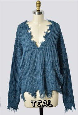 Distressed Sweater-Teal