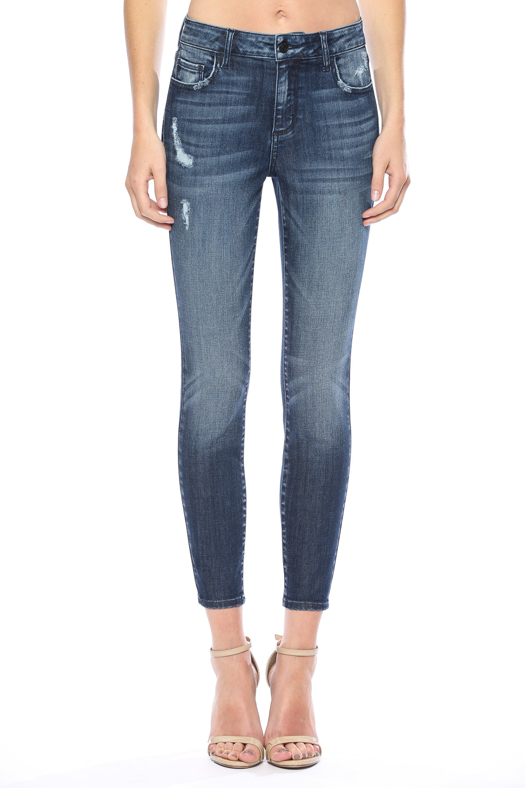 Vanessa Distressed Skinny Jeans-Cello