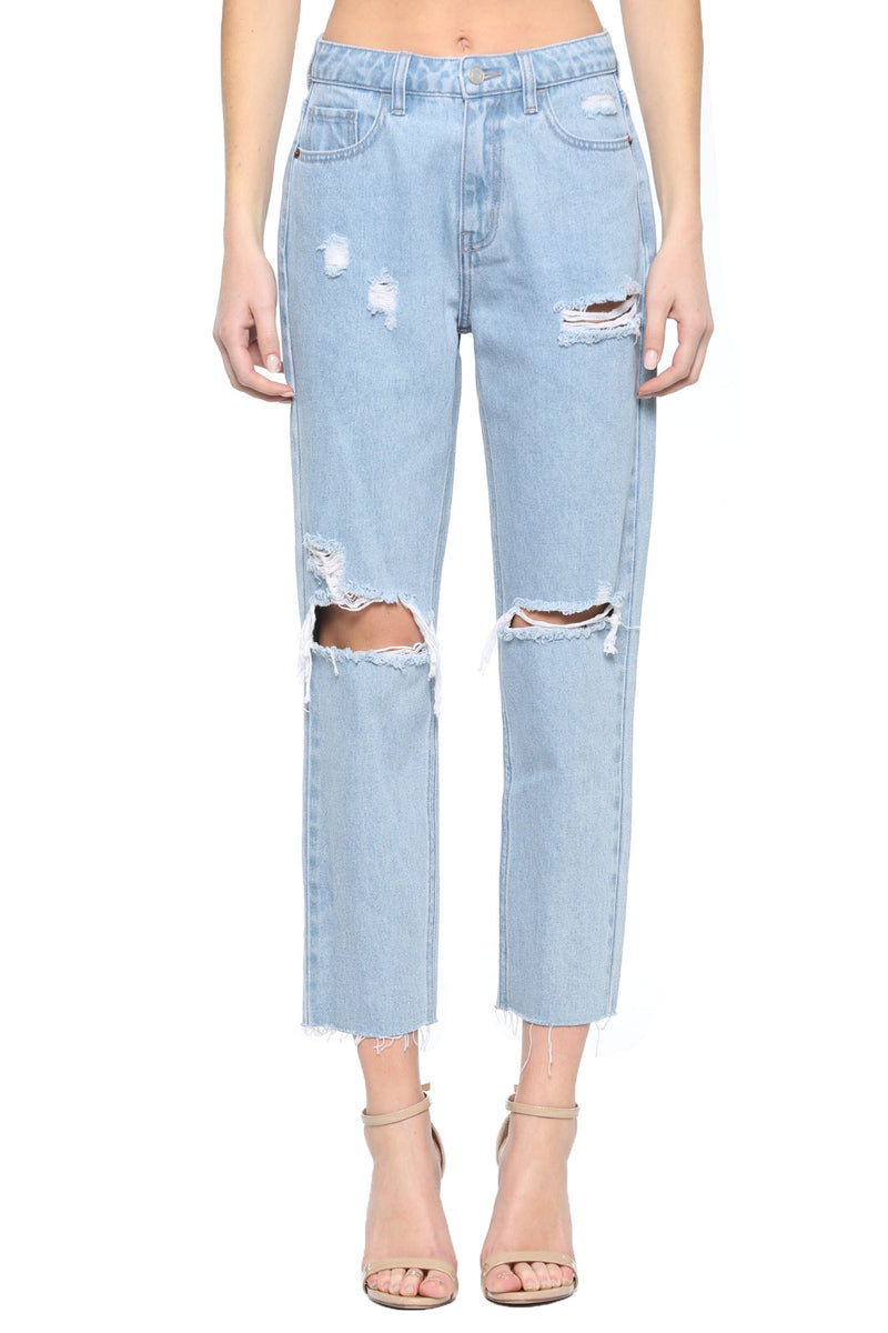 Kristen Distressed Straight Jeans