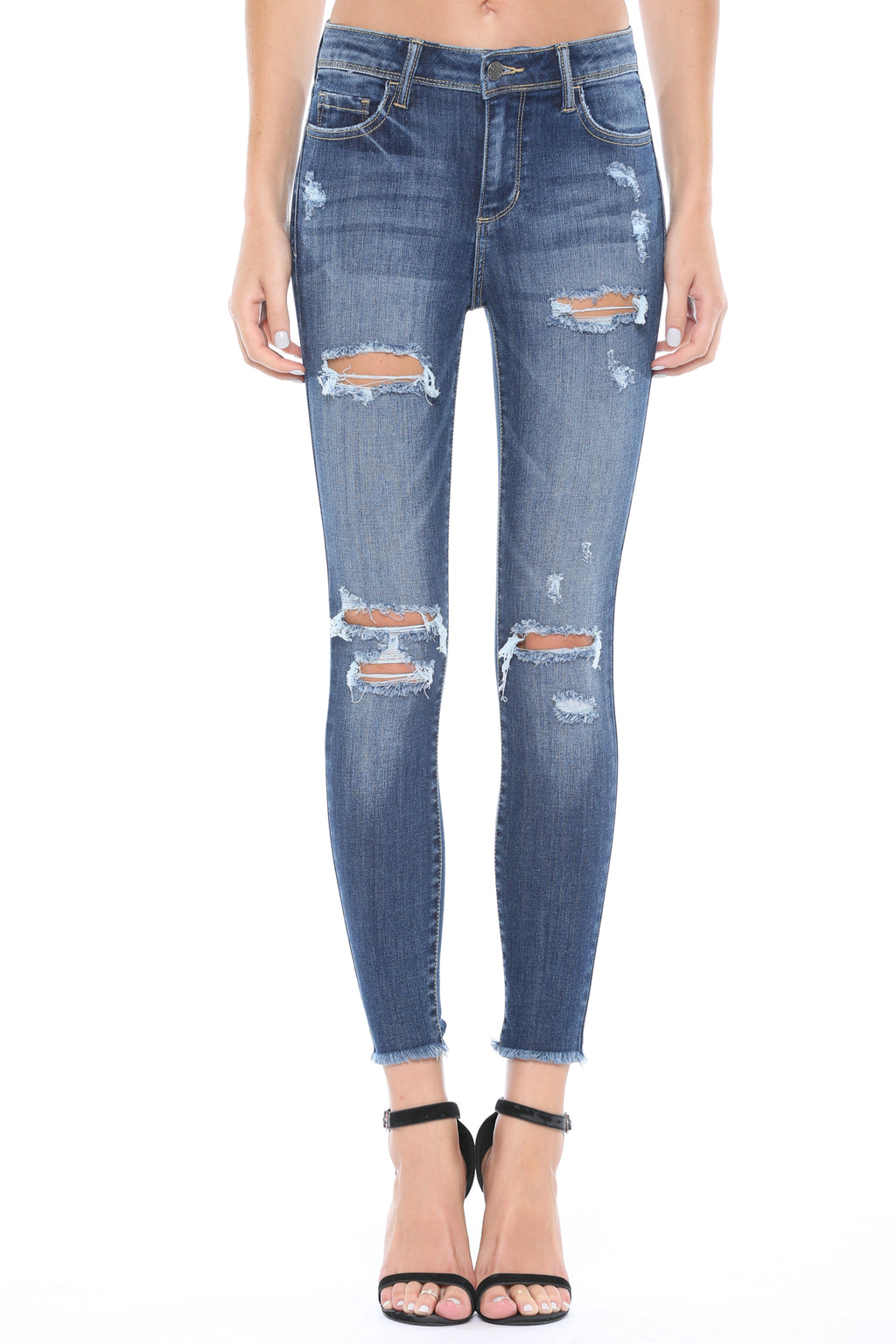 Rachel Distressed Skinny Jeans- Cello