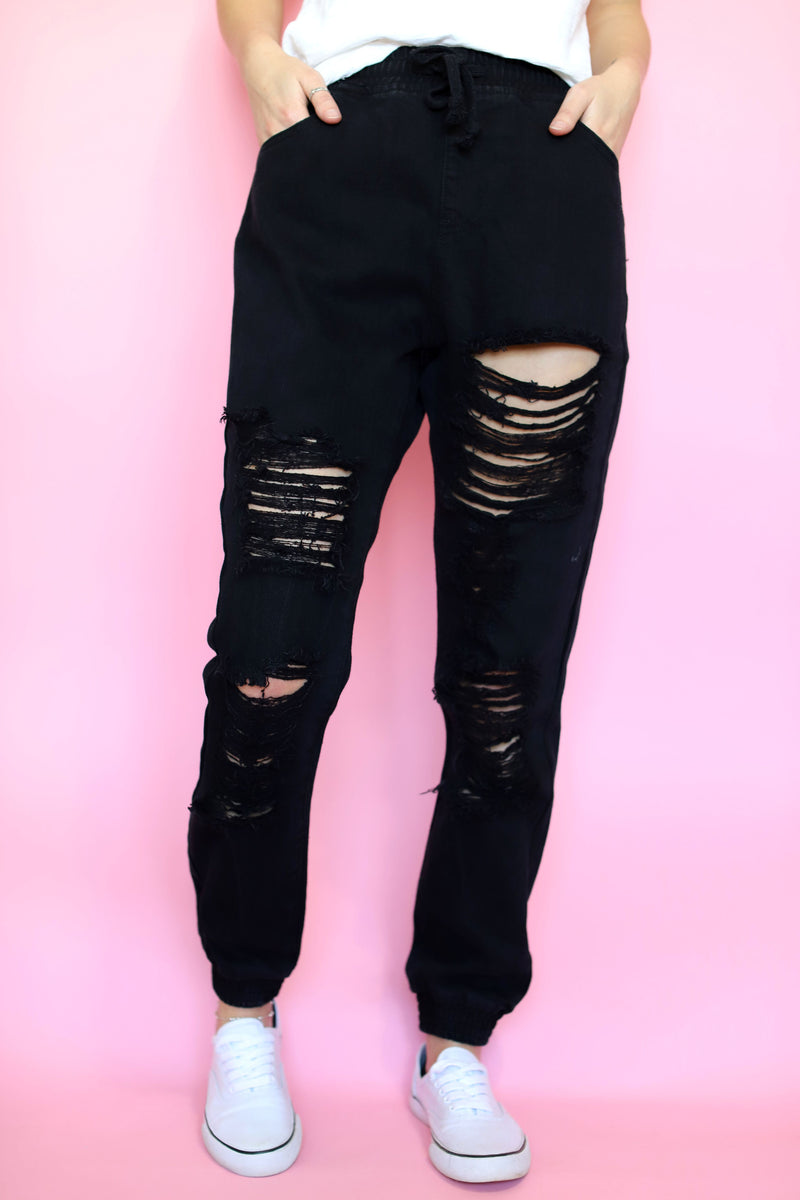 Black Denim Joggers