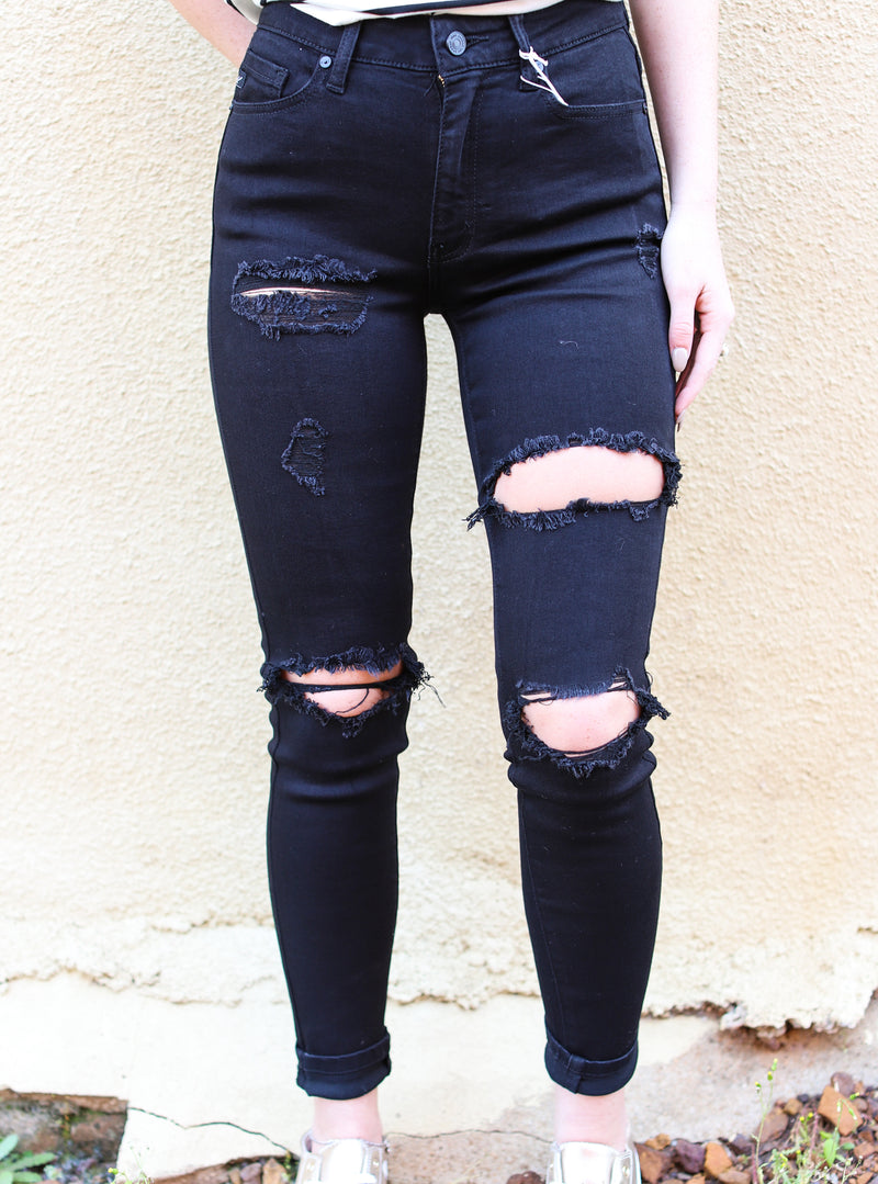 Leilani Black Distressed Skinny Jeans- Kan Cans
