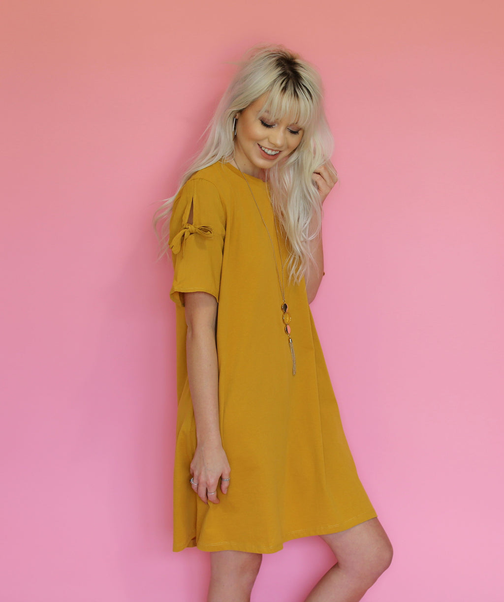 Bow Sleeve Tee Dress